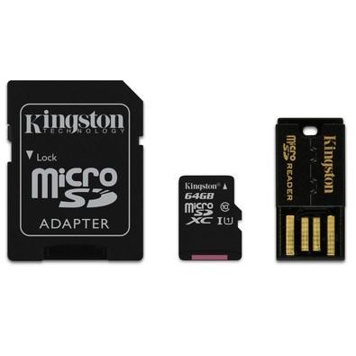 Cartão de Memória Kingston MicroSD 64GB Classe 10 com 2 Adaptadores Kit Mobilidade - MBLY10G2/64GB