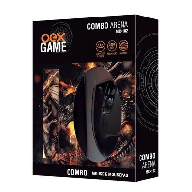 Kit Gamer OEX Game Arena - Mouse LED + Mousepad Pequeno - MC102