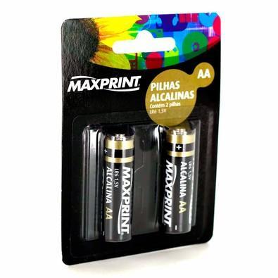 Pilha Alcalina Maxprint AA Pequena 1,5V Blister com 2 Unidades 756339