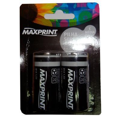 Pilha Maxprint C Média 1,5V Blister com 2 Unidades 756472