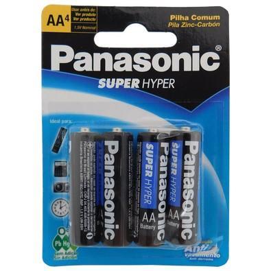 Pilha Panasonic AA Super Hyper com 4 Unidades - UM3SH
