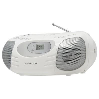 Rádio Portátil Philco - CD, MP3, USB, Aux. e FM 5W RMS Bivolt Branco - PB119B 056603111