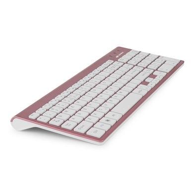 Combo Teclado e Mouse C3 Tech Sem Fio K-W510PWH ABNT2 1600DPI Branco/Rose