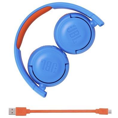 Headphone JBL Bluetooth 4.0 Com Limite de Volume Azul/Laranja Jr 300BT - JBLJR300BTUNO