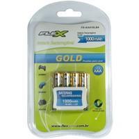 Pilha Recarregável FLEX GOLD AAA 1000 mAh Blister com 4 unidades - 6478