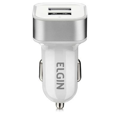 Carregador Veicular Elgin, Entrada 12V a 24V, 2 Portas USB 2A 10W - Branco