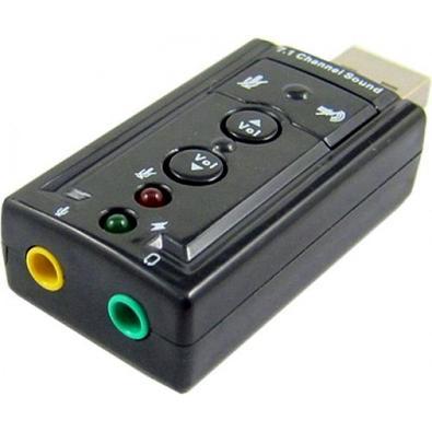 Adaptador MD9 USB, A Macho, Áudio e Fone, Preto - 7927