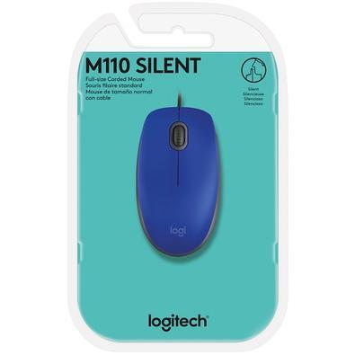 Mouse Logitech M110 com Clique Silencioso Azul