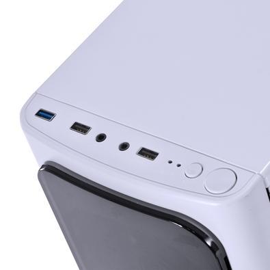 Gabinete Gamer PCYes Venus sem Fonte, Mid Tower, USB 3.0, 2 Fans LED 7 Cores, Branco com Lateral em Acrílico - VENBC7C2FCA