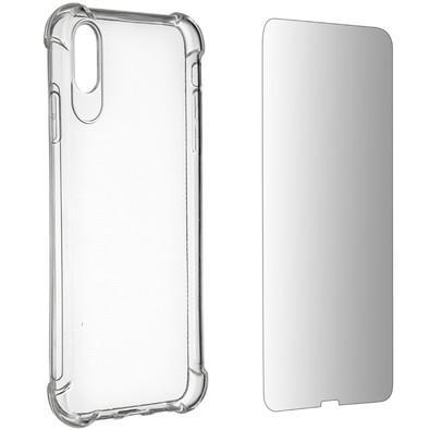 Kit 2 em 1 Celular Mart - Película de Vidro e Case de Silicone Transparente para Iphone XS MAX