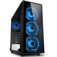 Gabinete Gamer Sharkoon TG4 Blue sem Fonte, Mid Tower, USB 3.0, 4 Fans, Preto com Lateral em Vidro