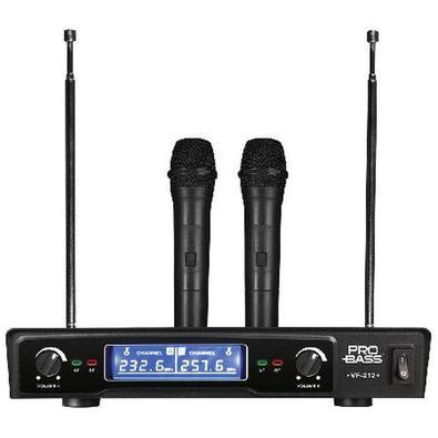 Microfone Sem Fio Vhf Duplo De Mão Vf-212