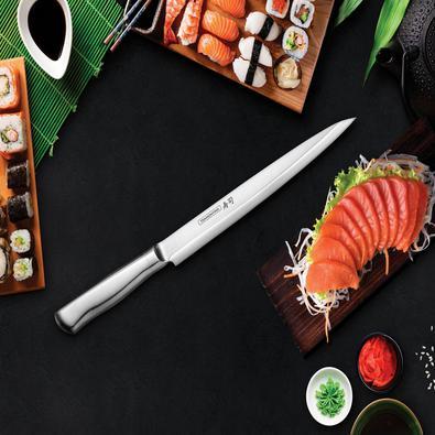 Faca Yanagiba Tramontina Sushi Diamond com Lâmina e Cabo em Aço Inox 9