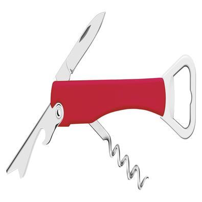 Abridor com Saca Rolhas e Canivete Tramontina Harmoniza Lâminas em Aço Inox e Corpo em ABS Vermelho Tramontina