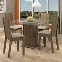 Conjunto Sala de Jantar Madesa Maya Mesa Tampo de Vidro com 4 Cadeiras Rustic/Pérola Cor:Rustic/Pérola