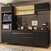 Cozinha Completa Madesa Reims 260002 com Armário e Balcão Preto/Rustic Cor:Preto/Rustic
