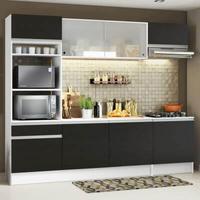 Cozinha Completa Madesa Topazio com Armário, Balcão e Tampo Branco/Preto Cor:Branco/Preto