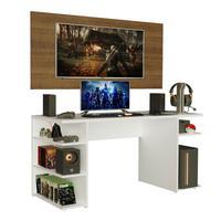 Mesa Gamer Madesa 9409 e Painel para TV até 50 Polegadas, Branco/Rustic