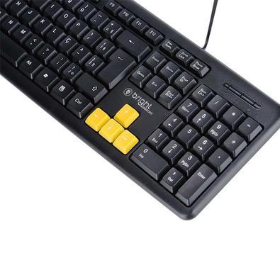 Teclado Gamer Bright Basic USB, ABNT2, Preto - 551