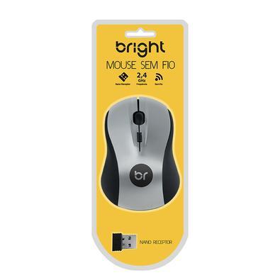 Mouse Bright Sem Fio, Preto e Prata - 205