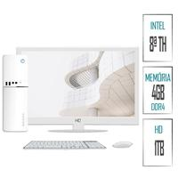 Computador Skill SlimPC Intel G4930 8ª Geração, 4GB, DDR4, HD 1TB, Intel UHD 610, Monitor 15.6, LED, HDMI, Branco