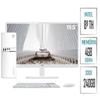 "Computador PC Intel 8ª Geração 4GB, DDR4, SSD 240GB, Intel UHD 610, Monitor LED Branco 19.5"", HDMI,  Skill SlimPC"