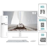 Computador PC Intel 8ª Geração 8GB DDR4 SSD 480GB (Placa de vídeo Intel UHD 610) Monitor LED Branco 19.5´´ HDMI  Skill SlimPC