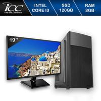 Computador Desktop ICC IV2386SWM19 Intel Core I3 3.20 ghz 8gb HD 120GB SSD HDMI FULL HD Monitor LED 19,5 Windows 10