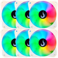 Kit com 6 Cooler Fan Rise Mode Branco, Led RGB, 120mm - Rm-mb-02-12