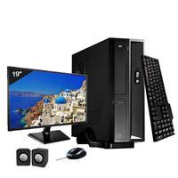 Mini Computador ICC I3 8gb HD 500GB DVDRW Kit Multimídia Monitor 19,5 Windows 10