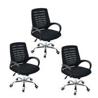 Conjunto com 3 Cadeiras Executiva Viena Giratória com Regulagem de Altura à Gás, Telada