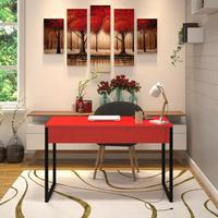 Mesa Em Metal Com Tampo De Aço Colorido Tamanho 120x60 Cor Vermelho E Preto