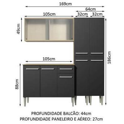 Cozinha Completa Madesa Emilly Fly com Armário Vidro Miniboreal, Balcão e Paneleiros - Rustic/Preto Cor:Rustic/Preto
