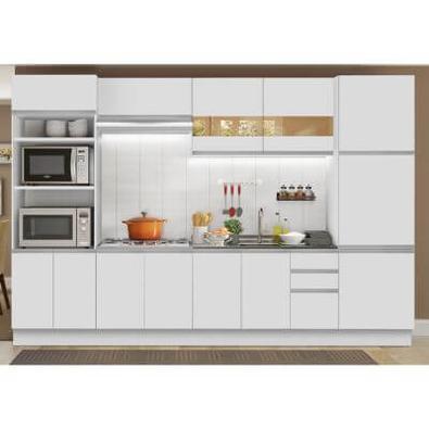 Cozinha Completa Madesa Roma 3 Gavetas 13 Portas (Sem Tampo e Pia) Branco Cor:Branco