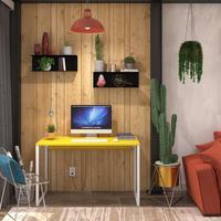 Mesa Em Metal Com Tampo De Aço Colorido   Tam: 80x60   Cor: Amarelo E Branco