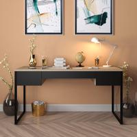 Mesa Em Metal Com Tampo De Aço Colorido   Tam: 80x60cm   Cor: Azul E Preto