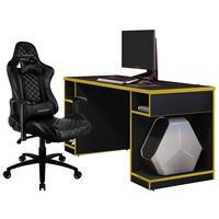 Kit Mesa Para Pc Gamer Destiny Preto Amarelo E Cadeira Gamer Tgc12 H01 Thunderx3 Preto - Lyam Decor