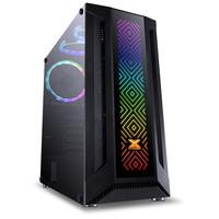 Gabinete Gamer, Eatx Vx Gaming Sagitarius, Vidro Temperado, Preto, Frontal, 3 Fans, Fita LED RGB