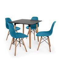 Kit Mesa Jantar Eiffel 80x80 Preta + 04 Cadeiras Charles Eames Eiffel - Turquesa