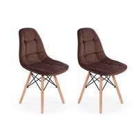 Conjunto 2 Cadeiras Eiffel Botonê Estofada Veludo Base Madeira - Marrom