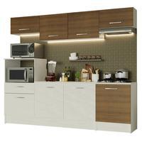 Cozinha Completa Madesa Onix 240003 com Armario e Balcão Branco/Rustic 096E Cor:Branco/Rustic/Branco