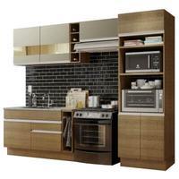 Cozinha completa madesa cristal com armário e balcão (sem tampo e pia) rustic/rustic/crema cor:rustic/rustic/crema