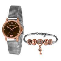 Kit Relógio Feminino Lince Analógico Prata Com Rosê - Lrt4677l-kz94m2s - Unico