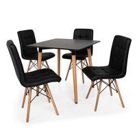 Kit Mesa Jantar Eiffel 80x80 Preta + 04 Cadeiras Gomos - Preta