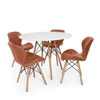 Kit Mesa Jantar Eiffel 90cm Branca + 04 Cadeiras Slim - Marrom