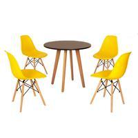 Mesa Laura 80cm Preta + 4 Cadeiras Eames Eiffel - Amarela