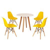 Mesa Laura 80cm Branca + 4 Cadeiras Eames Eiffel - Amarela