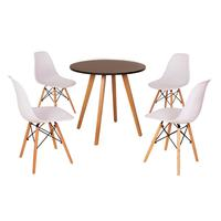 Mesa Inês 80cm Preta + 4 Cadeiras Eames Eiffel - Branca