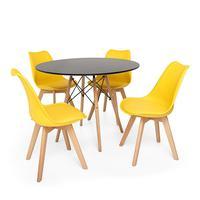 Kit Mesa Jantar Eiffel 90cm Preta + 04 Cadeiras Leda - Amarela