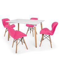 Kit Mesa Jantar Eiffel 120x80cm Branca + 04 Cadeiras Slim - Rosa